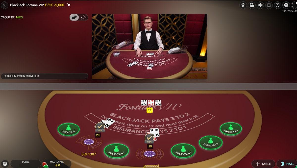 Plan de vue des tables virtuelle et reelle de la Blackjack Fortune VIP
