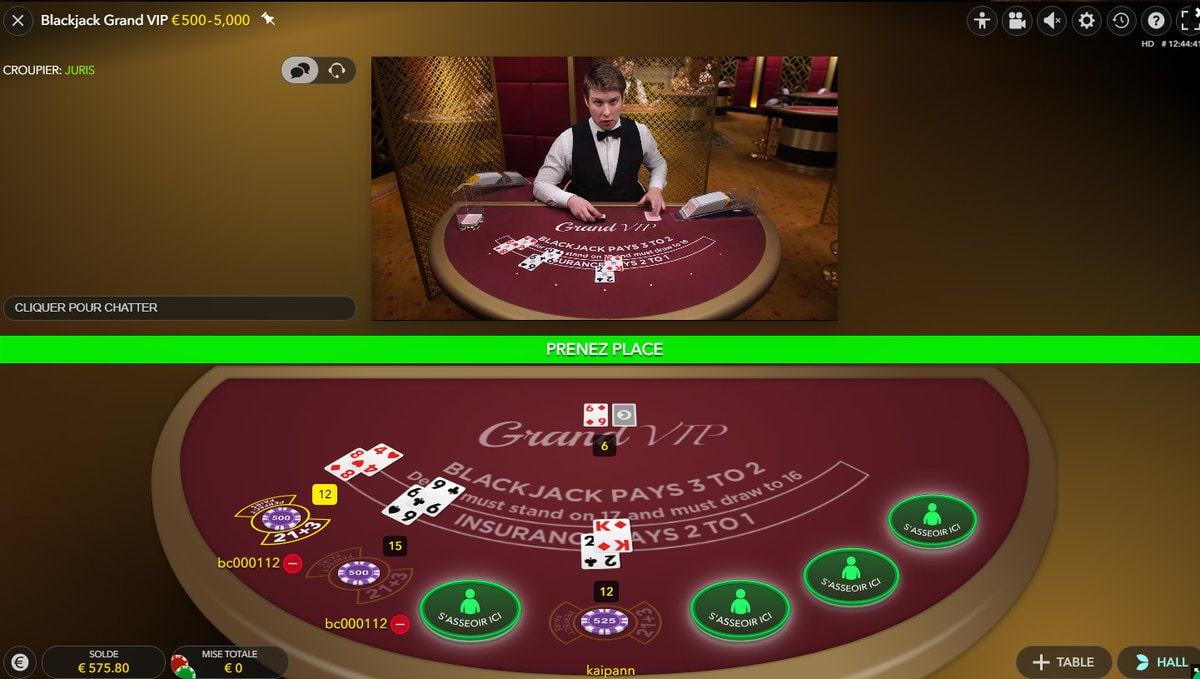 Table Blackjack Grand VIP d'Evolution Gaming