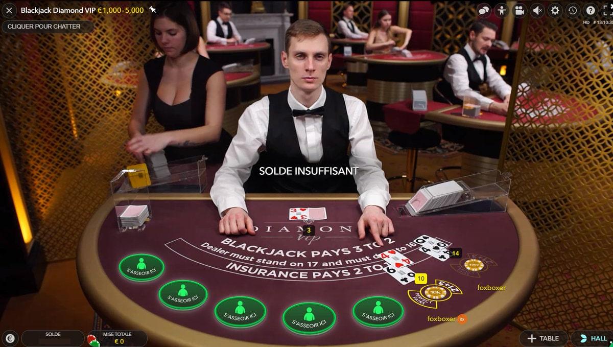 Table de jeu Blackjack Diamond VIP