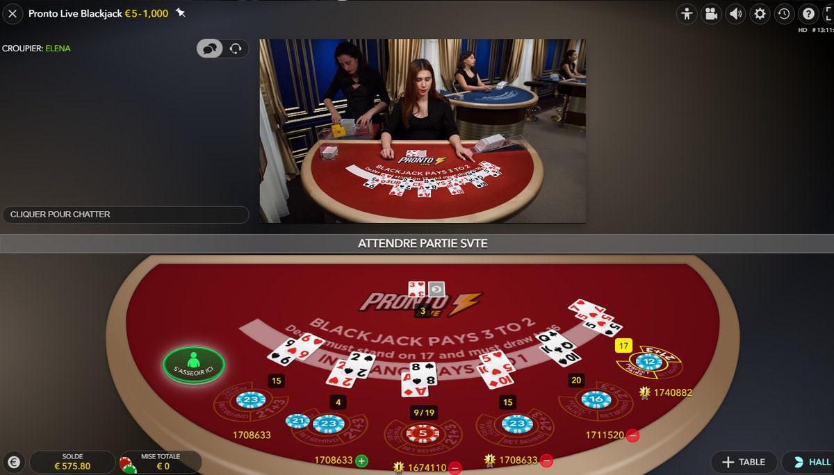 Mélange des cartes du Pronto Live Blackjack