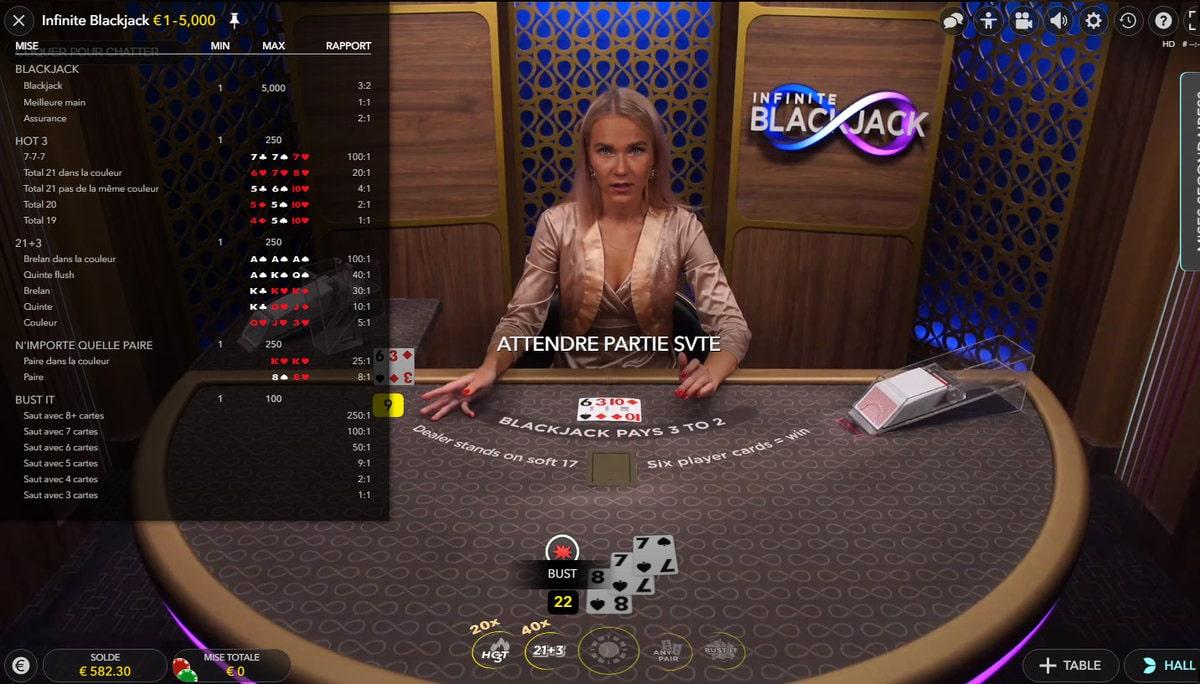 Mises et rapports de l'Infinite Blackjack