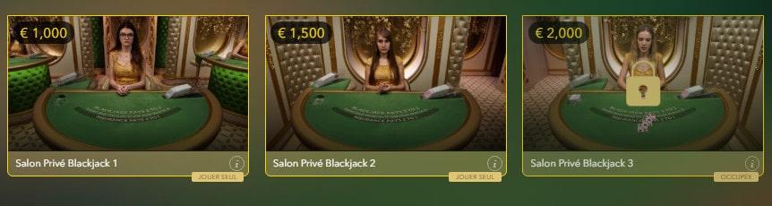 Blackjack Salon Privé pour les joueurs VIP de blackjack