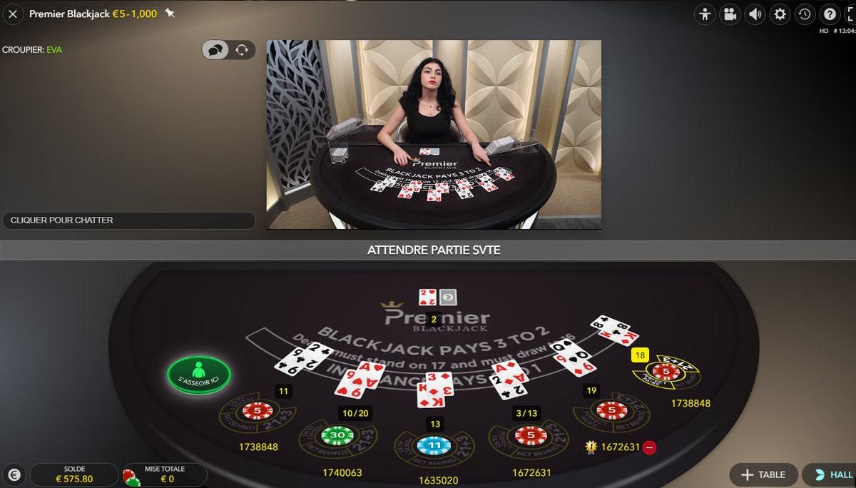 Plan de vue de la table Premier Blackjack