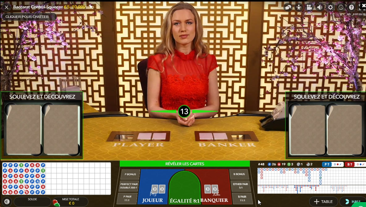 Table de jeu de Baccarat Control Squeeze d'Evolution Gaming