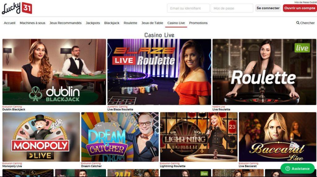 Revue du Casino en ligne Lucky31