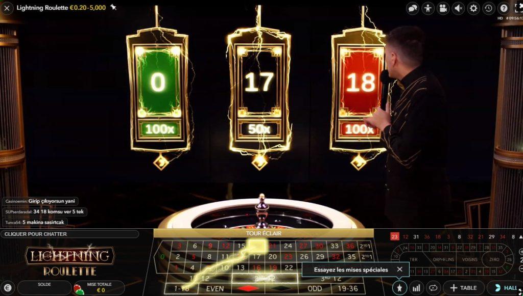 Multiplicateurs de gains de la Lightning Roulette