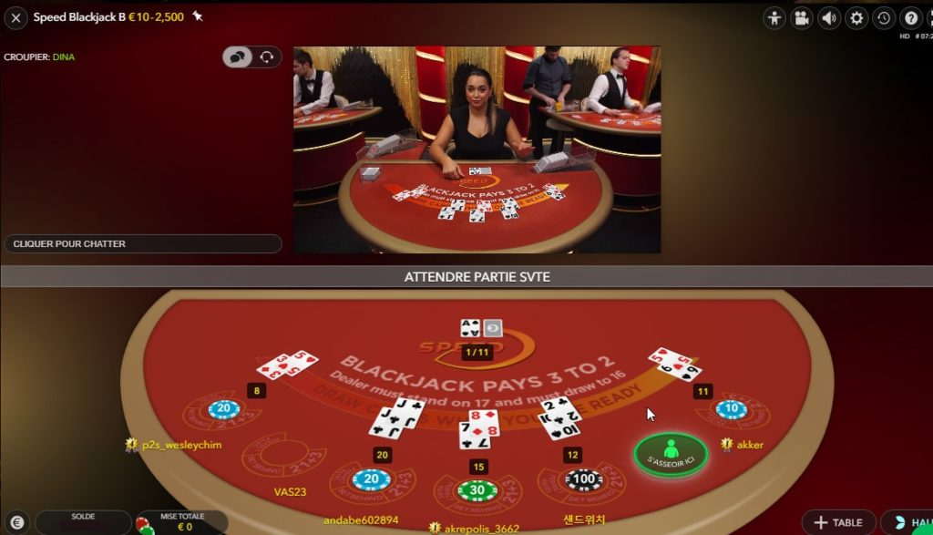 Speed Blackjack avec tables de jeux virtuelle et reelle
