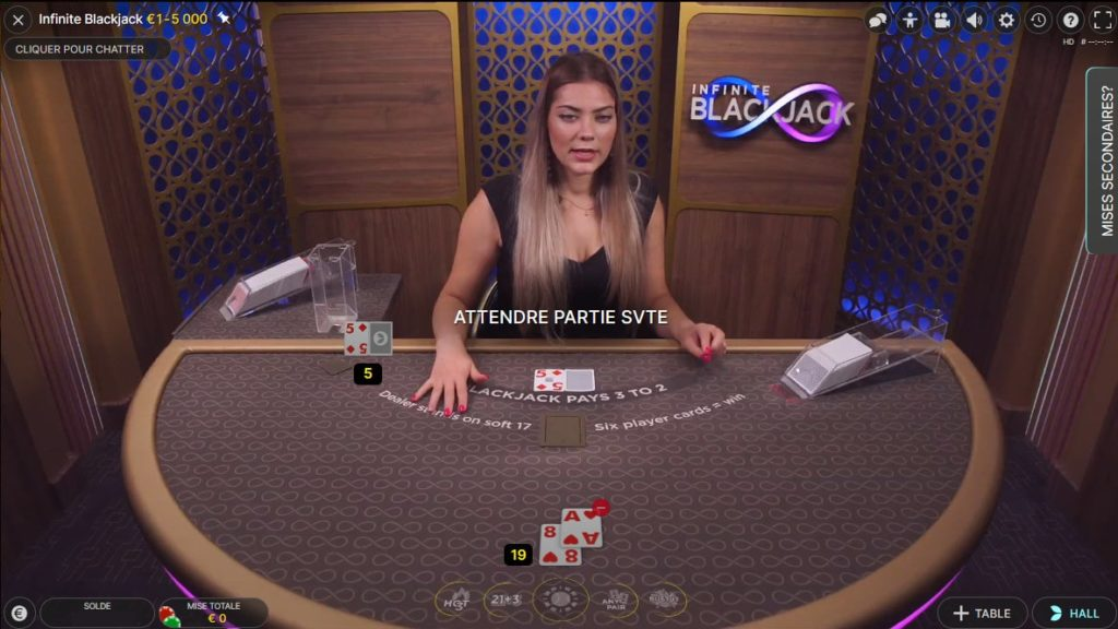 Blackjack gratuit en mode RNG