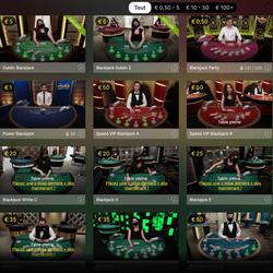 54 tables de blackjack en live d'Evolution