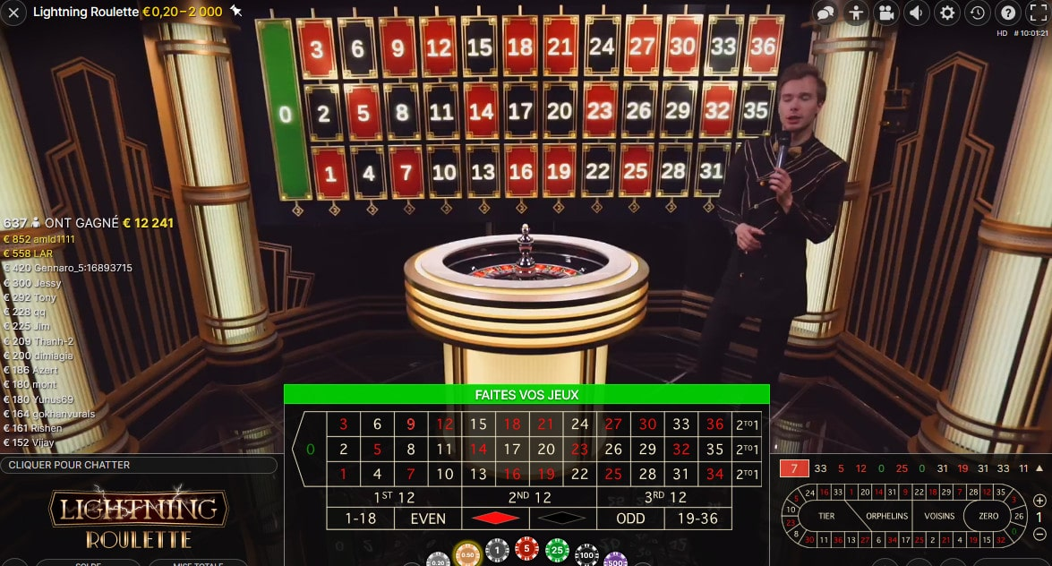 Jeu en Live Lightning Roulette avec croupier en direct Evolution