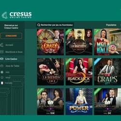 Les jeux en live de Cresus Casino ont fait la force de ce casino en ligne