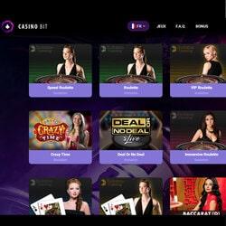 Jeux avec croupiers en direct de CasinoBit