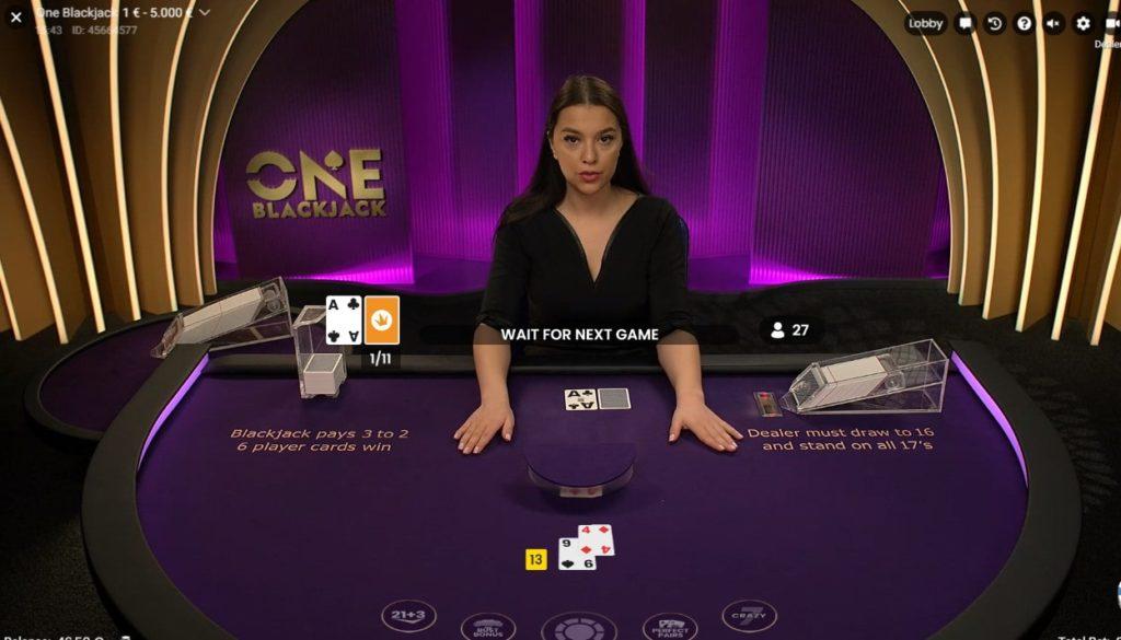 ONE Blackjack est une table de black jack en live de Pragmatic Play Live
