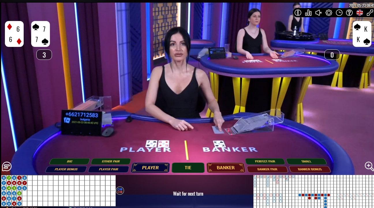 Croupière en direct a une table de baccarat Burgas de Vivo Gaming