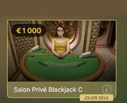 Le nombre de tables de Blackjack Salon Prive augmente