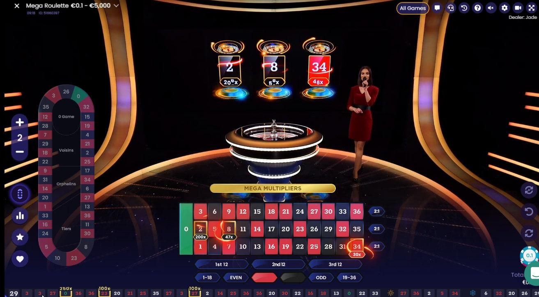 jeu de roulette avec croupier en direct de Pragmatic Play Live